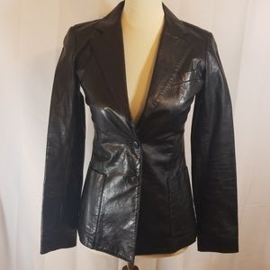 Theory black leather single breasted blazer sz S